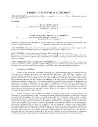 Cleaning Service Agreement Template Production Services Agreement For Motion Picture Legal Forms And