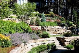 landscaping ideas for hillside with stones stair planted with