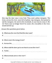 reading comprehension deer and crocodiles worksheet turtle diary