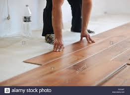 Installing Laminated Flooring Installing Laminate Flooring In New Home Indoor Stock Photo