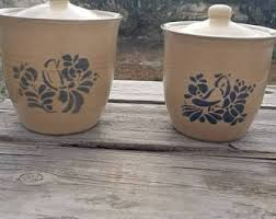 vintage ceramic kitchen canisters pottery canister etsy