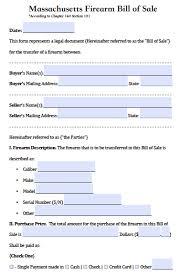free massachusetts firearm gun bill of sale form pdf word doc