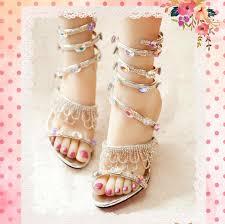 wedding shoes daily handmade silver tassels gladiator high heel wedding shoes 8cm heel