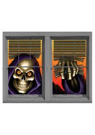 Skeleton Halloween Window Decorations by Grim Reaper Double Window Cling