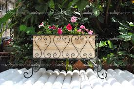 wrought iron long planter stand with wooden filler box u2013 the