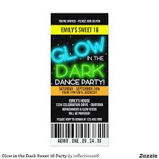 Sweet Sixteen Invitations Cards Glow In The Dark Sweet 16 Party 4x9 25 Paper Invitation Card
