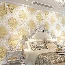Luxury Bedroom Design Aliexpress Com Buy Classic European Embossed Gold Glitter Damask