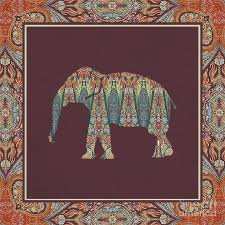 kashmir patterned elephant boho tribal home decor painting by