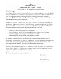 brilliant ideas of cover letter examples for quality control
