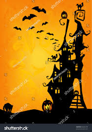 halloween background cat and pumpkin halloween invitation flyer background spooky castle stock vector