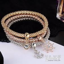 anchor bracelet charms images Set of 3 bracelets tricolor with anchor sail charm pendants jpg