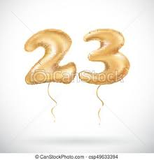vector 23 birthday celebration with gold balloons and eps