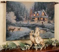 thomas kinkade lighted pictures family at deer creek fiber optic tapestry wall hanging thomas