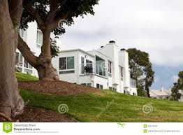 Modern House California Modern White House On A Hill In California Royalty Free Stock