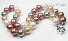 pearl necklace wholesale images Multicolor round shell pearl necklace wholesale online 12mm round jpg