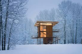 cabin design steel weekend cabin on stilts designed for safe mountain getaways