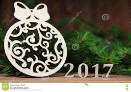 new year 2017 christmas tree decoration with a branch of a fir