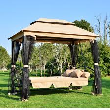 tonnelle de jardin avec moustiquaire balancelle balançoire 3 places convertible en lit de jardin