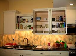 Lights For Under Kitchen Cabinets by Diamond Pattern Backsplash As Well As Puck Lights Under Kitchen