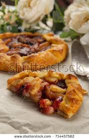 breton en cuisine galette plum pears on rustic stock photo 714457582