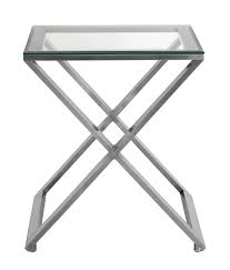brushed nickel coffee table brushed nickel scissor leg side table with bevelled glass