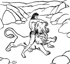 samson killing lion coloring color luna