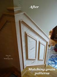 Wainscoting Installation Cost Before U0026 After Oak Wainscoting On Stairs The Joy Of Moldings Com