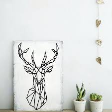 aliexpress com buy geometric deer head wall sticker modern home