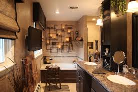 Rustic Bathrooms Bathroom Modern Rustic Bathroom Decorating With Tv And Chandle