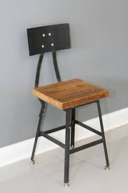 industrial metal bar stools with backs urban wood industrial reclaimed industrial bar stool w steel back