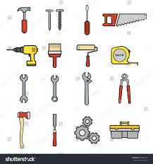 set construction tools illustration vector thin stock vector
