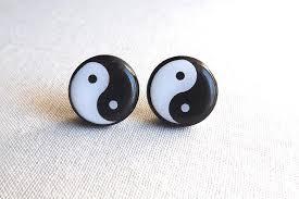 ying yang earrings black and white earrings yin yan earring
