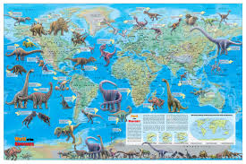 World Wall Map by World Of The Dinosaurs Wall Map Poster 36x24