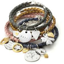 braided charm bracelet images Ladies braided leather wrap charm bracelet by chambers beau jpg
