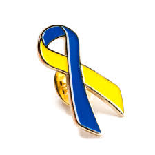 blue support ribbon yellow blue ribbon lapel pin awareness metal lapel pin downs