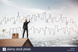 K He Modern Man Architect Draw Silhouette City Stock Photos U0026 Man Architect