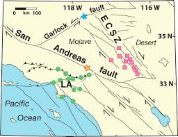 San Andreas Fault Line Map Long Range And Long Term Fault Interactions In Southern California