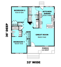 cottage style house plan 2 beds 2 00 baths 1073 sq ft plan 44