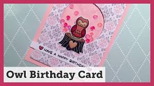 owl birthday card using lawn fawn