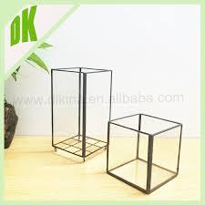 2pcs glass display case terrarium hexagonal unusual glass leaded