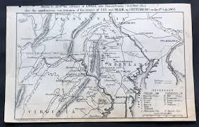Battle Of Gettysburg Map 1863 Dangerfield Rare Antique Map Of Gettysburg American Civil
