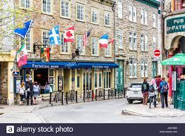 Flags Restaurant Menu Quebec City Canada May 29 2017 Old Town Street Rue Couillard