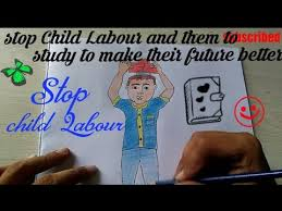 stop child labour drawing step by step save children future