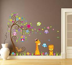 stickers girafe chambre bébé wallpark grand coloré fleur arbre avec mignon hiboux girafe