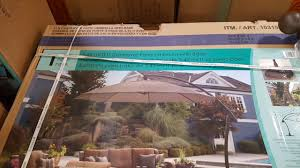 Cantilever Patio Umbrella With Base Costco Proshade 11 Ft Parasol Cantilever Umbrella 489