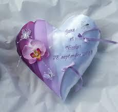 Porte Alliance Fleur Coussin Mariage Porte Alliance Cœur Blanc Violet Parme Avec