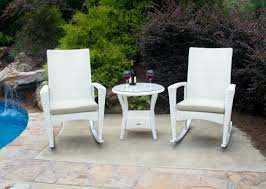 White Wicker Patio Furniture Bayview Rocking Chair 3 Piece Set In Magnolia White Wicker