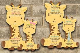 baby shower giraffe custom printed giraffe baby shower invitations for
