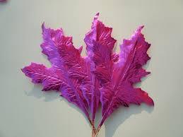 pink millinery flower sassafras metallic foil spring leaves art