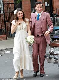 Wedding Dress Mp3 Mila Kunis Slips On A Seventies Style Wedding Dress To Marry On